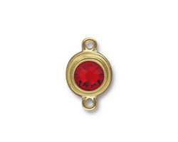 TierraCast Gold (plated) Stepped Bezel Link w/ Light Siam Ruby Crystal 12x17mm