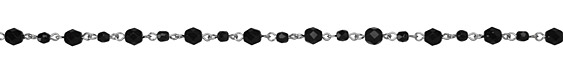 Czech Fire Polished Glass Jet Faceted Round Silver (plated) Bead Chain