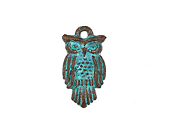 Greek Copper (plated) Patina Large Owl Charm 15x29mm