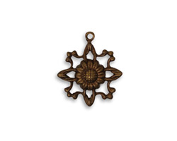 Vintaj Natural Brass Filigree Sunflower 17x19mm