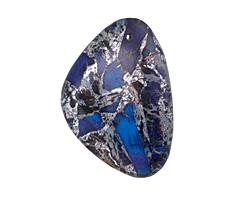 Midnight Blue Impression Jasper & Pyrite Flat Freeform Pendant 31-32x45-46mm