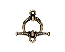 TierraCast Antique Brass (plated) Heirloom Toggle Clasp 20x15mm, 24mm bar