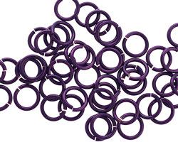 Purple Enameled Copper Round Jump Ring 7mm, 18 gauge