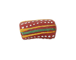African Handpainted Coral Powder Glass (Krobo) Bead 18-25x10mm