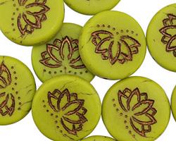 Czech Glass Matte Bronzed Avocado Lotus Coin 18mm