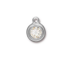 TierraCast Rhodium (plated) Stepped Bezel Drop w/ Crystal 12x17mm