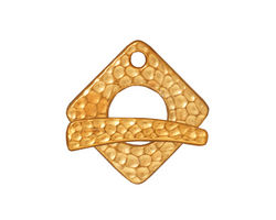 TierraCast Antique Gold (plated) Hammered Square Toggle Clasp 18xmm, 23 bar
