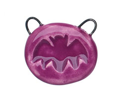 Gaea Ceramic Juju Grape Bat 2-Loop Pendant 26-28x24-26mm