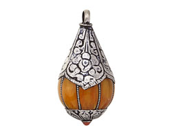 Tibetan Resin Amber & White Brass Teardrop Pendant 22x43mm