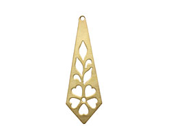 Brass Daisy Stencil Drop Pendant 16x48mm