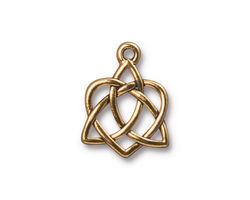 TierraCast Antique Gold (plated) Small Open Celtic Heart Charm 16x20mm