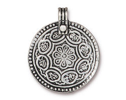 TierraCast Antique Silver (plated) Eightfold Path Pendant 26x32mm