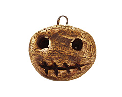 Earthenwood Studio Ceramic Crackle Root Skull Round Smile Pendant 24x23mm