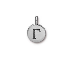 TierraCast Antique Silver (plated) Round Gamma Charm 12x17mm