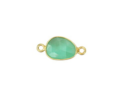 Chrysoprase Faceted Freeform Link in Gold Vermeil 19-24x11-14mm