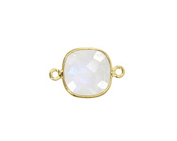 Moonstone (rainbow) Faceted Square Link in Vermeil 20x13mm