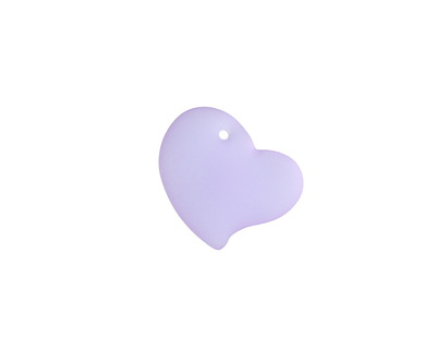 Periwinkle Recycled Glass Puffed Sweeping Heart Pendant 19x18mm