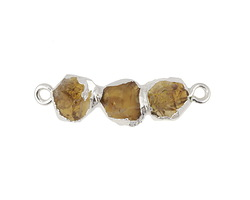 Citrine 3-Stone Natural Cut Focal Link w/ Silver Finish 32-34x8-9mm