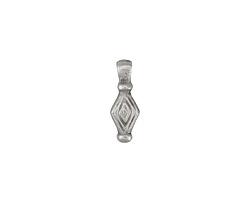Greek Pewter Diamond Drop Charm 6x16mm