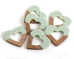 Walnut Wood & Sweet Mint Resin Open Heart Focal 50mm