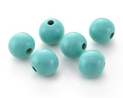 Turquoise Wood Round 20mm