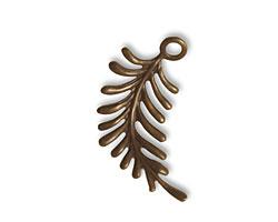 Vintaj Natural Brass Fern Curving Left Charm 26x27mm