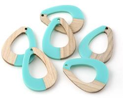 Wood & Turquoise Resin Open Teardrop Focal 28x38mm