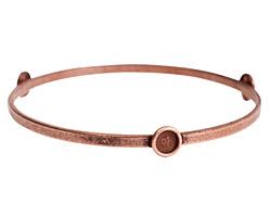 Nunn Design Antique Copper (plated) Large Flat Bangle Bracelet w/ Bezels 70mm