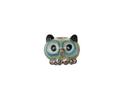 Grace Lampwork Olivine Owl Rondelle 11x13mm