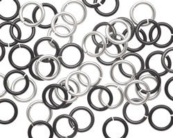 Shades of Grey Mix Enameled Copper Round Jump Ring 7mm, 18 gauge