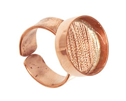 Copper Adjustable Ring Circle Bezel 17mm