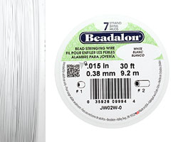 "Beadalon White .015"" 7 Strand Wire 30ft."