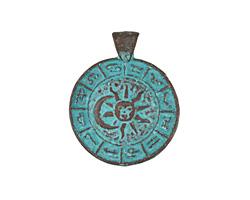 Greek Copper (plated) Patina Zodiac Pendant 27x34mm