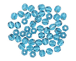 Czech Fire Polished Glass Silver Lined Teal Round 4mm