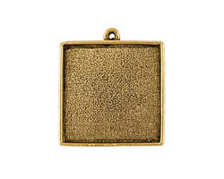 Nunn Design Antique Gold (plated) Grande Square Bezel Pendant 34x39mm