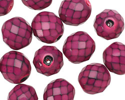 Czech Fire Polished Glass Fuchsia Round Snake Beads 12mm