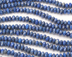 Denim Lapis Faceted Rondelle 6mm