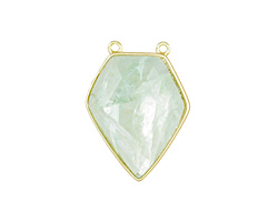 Green Fluorite Faceted Diamond Cut w/ Gold Finish Bezel Focal 21x30mm