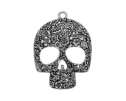 Zola Elements Antique Silver (plated) Sugar Skull Pendant 48x64mm