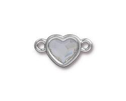 TierraCast Rhodium (plated) Heart Link w/ Crystal 20.5x12mm