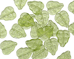 Czech Glass Olivine Leaves 11x9mm