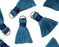 Denim w/ Navy Binding & Jump Ring Thread Tassel 18mm