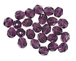 Czech Fire Polished Glass Tanzanite Round 6mm