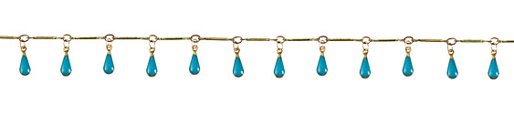 Zola Elements Brass Bar Chain w/ Turquoise Teardrops