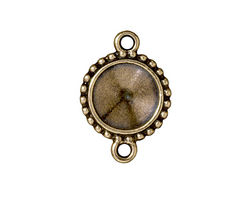 TierraCast Antique Brass (plated) Beaded Round Frame Link 25x17mm