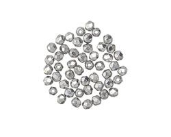 Czech Fire Polished Glass Silver Round 2mm