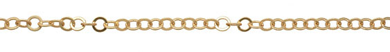 Satin Hamilton Gold (plated) Flat Ring Cable Chain 8mm