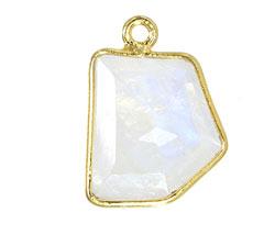 Moonstone (rainbow) Fancy Cut Drop in Gold Vermeil 9-13x11-24mm