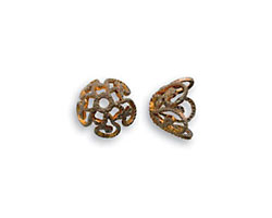 Vintaj Natural Brass Ornate Bead Cap 7.5mm