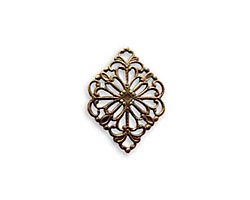 Vintaj Natural Brass Diamond Filigree 2-Hole Connector 15 x 21mm